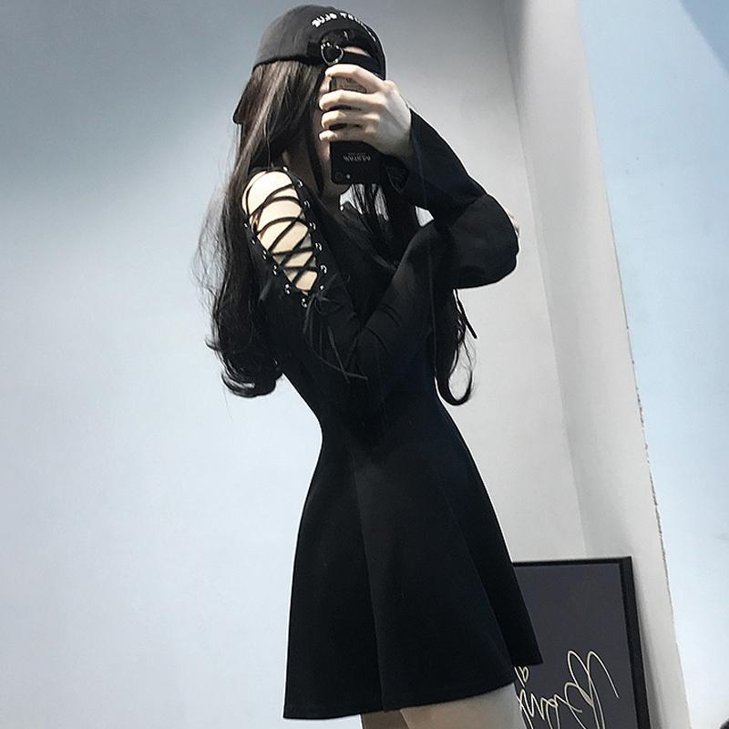 Modakawa Dress Lace Up V Neck High Waist Dress