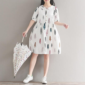 Modakawa Dress M Little Tree Print Loose Dress Doll Callor