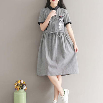 Modakawa Dress M Plaid Cat Print Dress Long Sleeve Grey