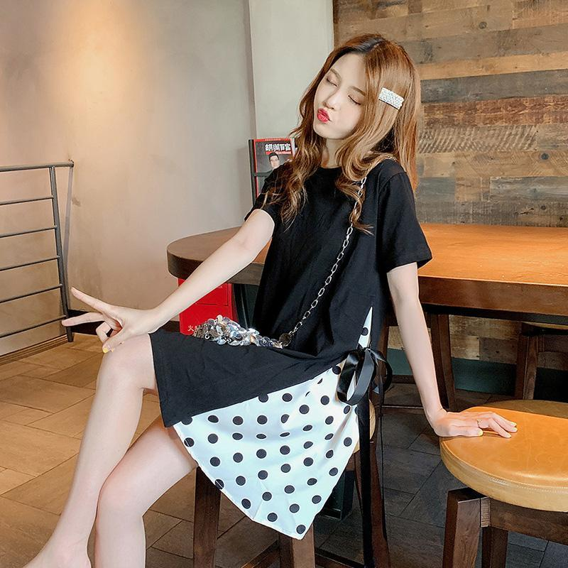 Modakawa Dress M Polka Dot Retro T-shirt Dress Bow Knot