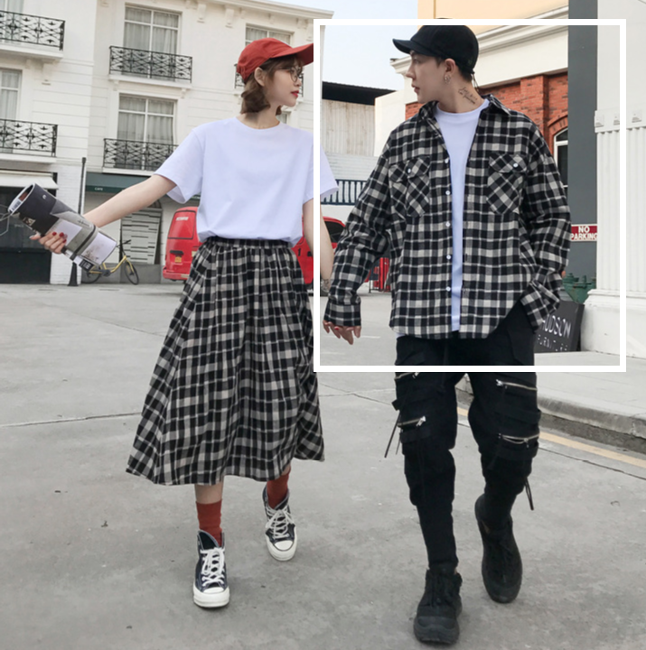 Modakawa Dress M / T-shirt Girlfriend Boyfriend Valentine Plaid Shirt Skirt T-Shirt Set