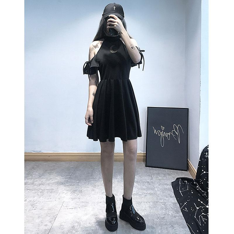 Modakawa Dress Moon Hollow Out Gothic Black Dress High Waist