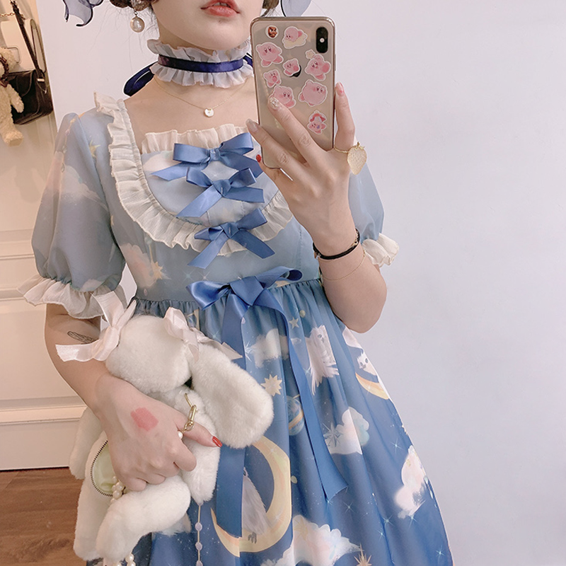 Modakawa Dress Moon Star Cloud Lace Ruffle Bow Lolita Dress