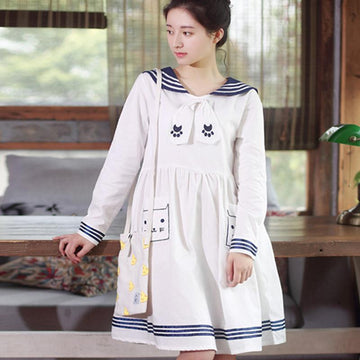 Modakawa Dress Navy Collar Cat Embroidery Dress