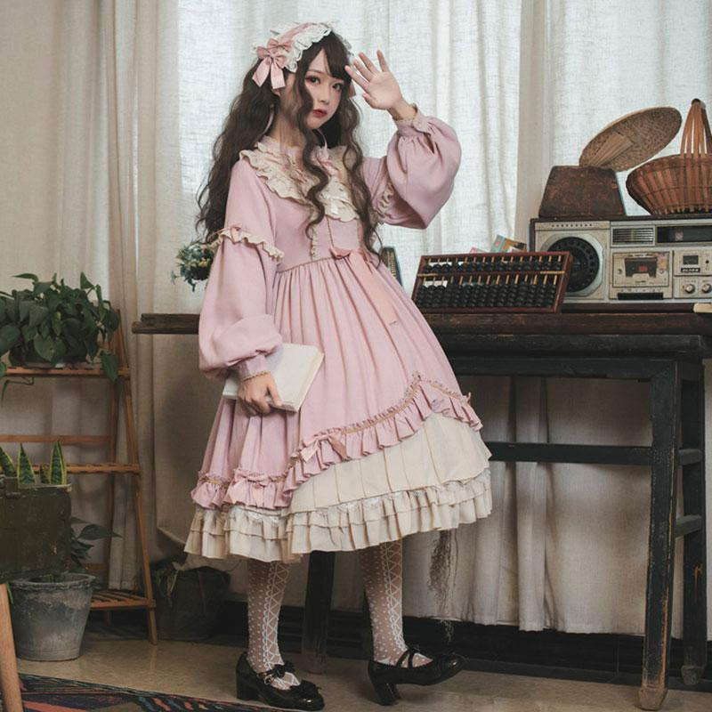 Modakawa Dress Pink Dress / S Sweet Bow Ruffle A-line Lolita Dress