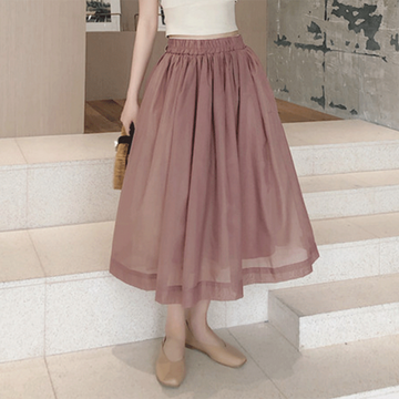 Modakawa Dress Pink / S High Waist Elastic Skirt Pure Color Tulle Skirt