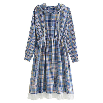 Modakawa Dress Plaid Button Ruffle Drawstring Hooded Dress