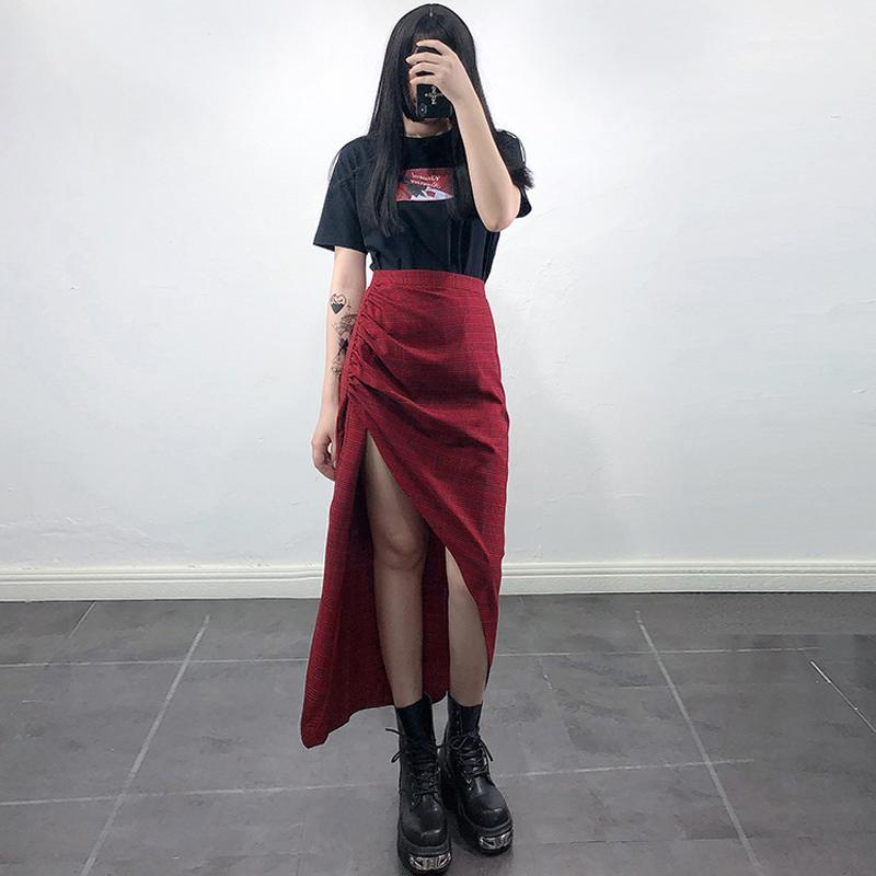 Modakawa Dress Plaid Irregular Ruffle Split High Waist Long Skirt