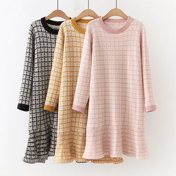 Modakawa Dress Plaid Stripe Ruffle Sweater Dress