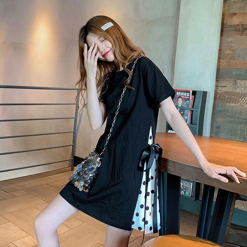 Modakawa Dress Polka Dot Retro T-shirt Dress Bow Knot