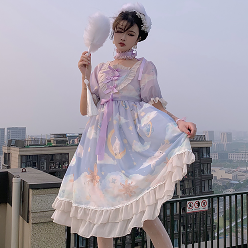 Modakawa Dress Purple / S Moon Star Cloud Lace Ruffle Bow Lolita Dress