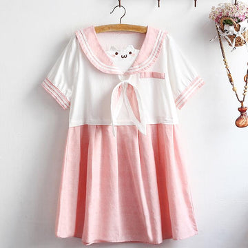 Modakawa Dress Rabbit Ears Sailor Collar Color Block Dress