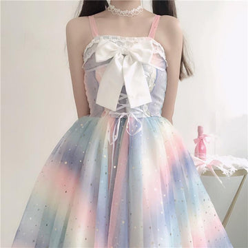 Modakawa Dress Rainbow Star Bow Lace Up Sweet Tulle Slip Dress