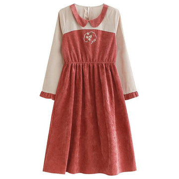 Modakawa Dress Red & Beige / S Flower Embroidery Doll Collar Ruffle Color Block Dress