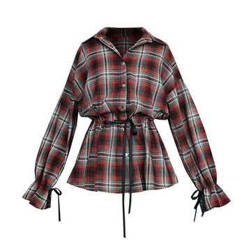 Modakawa Dress Red & Black / S Plaid Drawstring Bow Shirt Dress