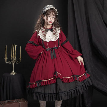 Modakawa Dress Red Dress / S Sweet Bow Ruffle A-line Lolita Dress