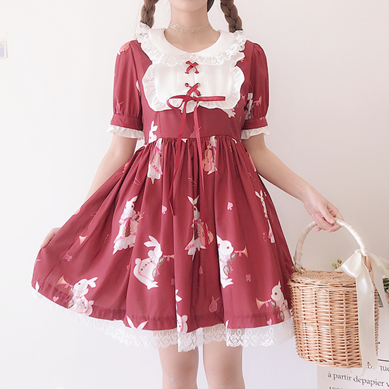 Modakawa Dress Red / S Cute Rabbit Print Lace Dress