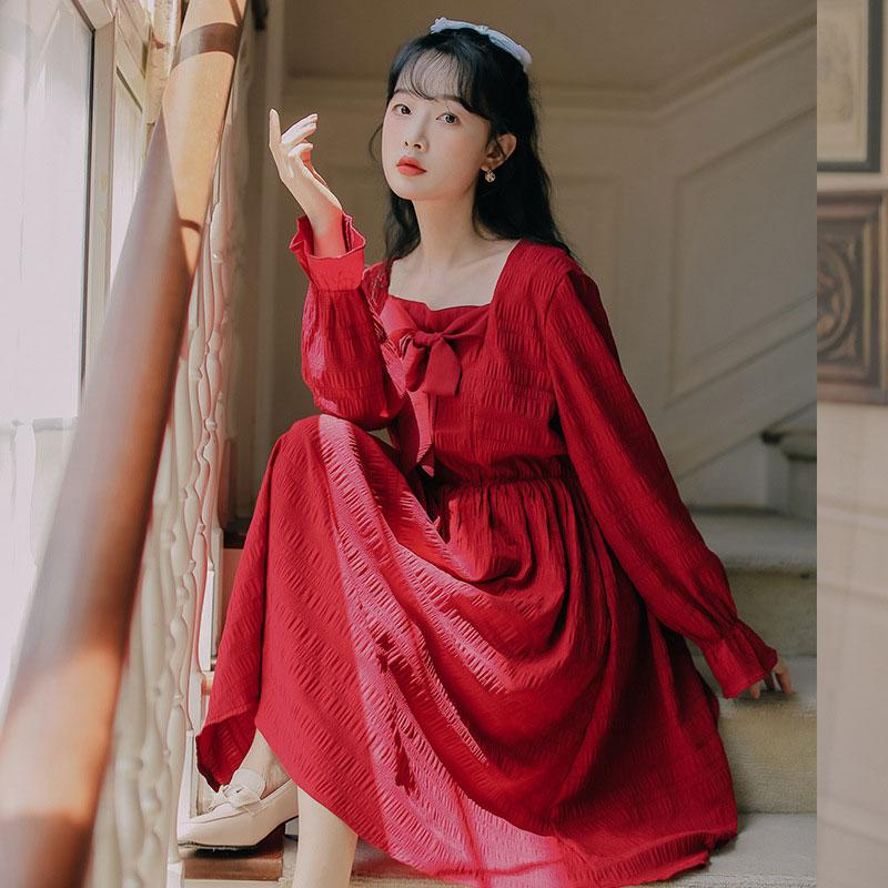 Modakawa Dress Red / S Sweet Bow Square Neck Pleated Long Dress