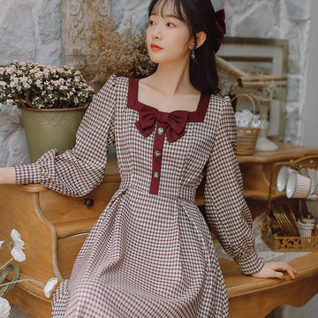 Modakawa Dress Red / S Vintage Plaid Splice Bow Square Neck High Waist Long Dress