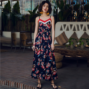 Modakawa Dress S Floral Print Suspender Long Dress