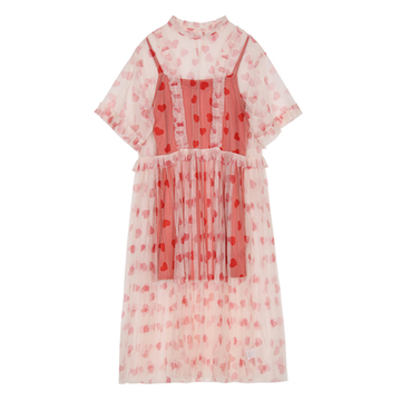 Modakawa Dress S Love Heart Print Dress See Through Mesh Lantern Sleeve