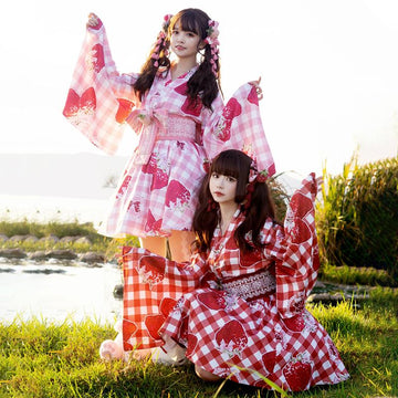 Modakawa Dress Strawberry Plaid Sweet Belt Kimono Set