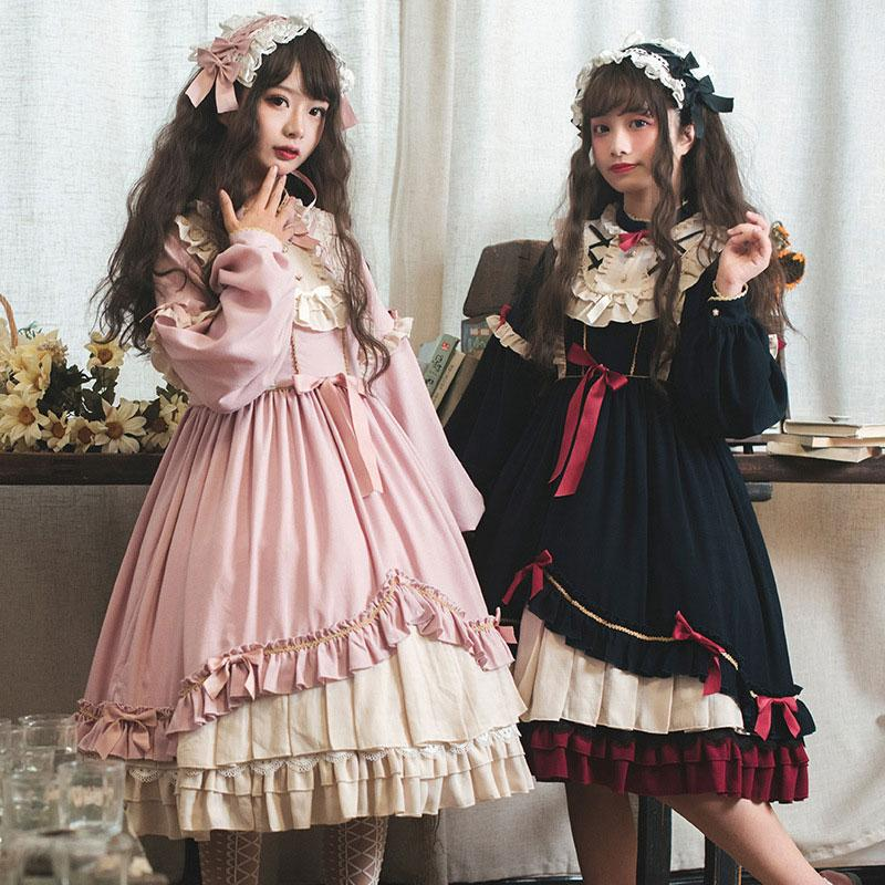 Modakawa Dress Sweet Bow Ruffle A-line Lolita Dress