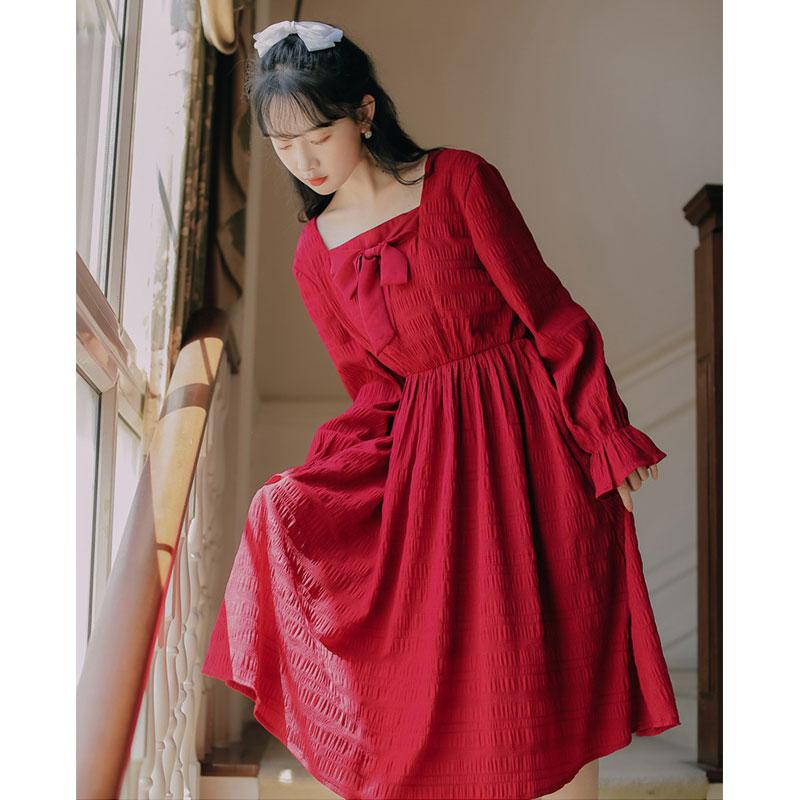 Modakawa Dress Sweet Bow Square Neck Pleated Long Dress