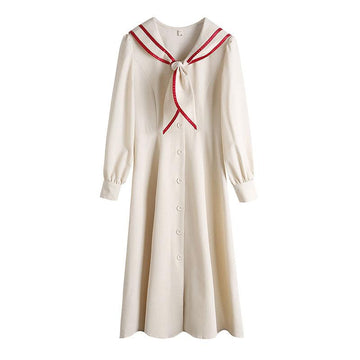 Modakawa Dress Sweet Bunny Ears Navy Collar Button High Waist Long Dress