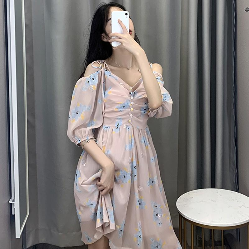 Modakawa Dress Sweet Floral Print Chiffon Paillette Off The Shoulder Dress