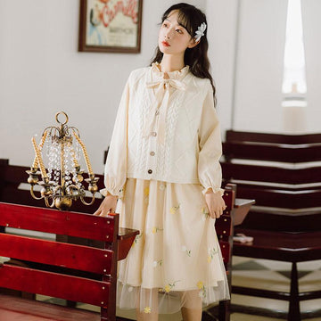Modakawa Dress Sweet Flower Embroidery Mesh Ruffle Long Dress Knitted Vest
