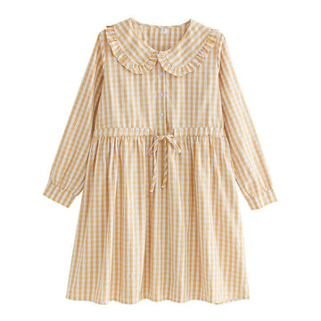 Modakawa Dress Sweet Plaid Ruffle Collar Button Drawstring Dress