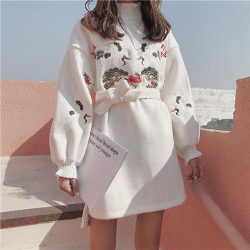 Modakawa Dress Sweet Ruffle Crane Embroidery Dress