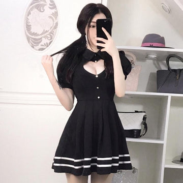Modakawa Dress Sweet Sexy Love Heart Hollow Out Short Sleeve Polo Dress
