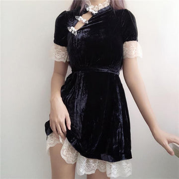 Modakawa Dress Velvet Lace Cheongsam Hollow Out Dress