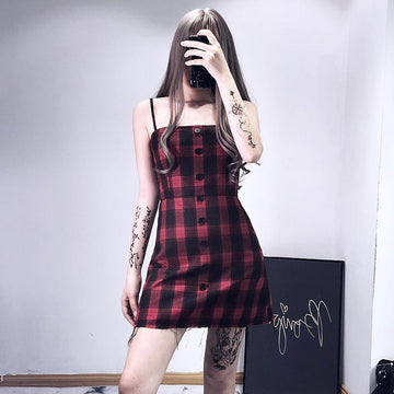Modakawa Dress Vintage Plaid Button Spaghetti Strap Slip Dress