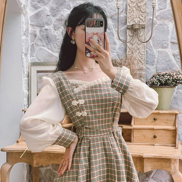 Modakawa Dress Vintage Plaid Splice Ruffle Square Neck Button Long Dress