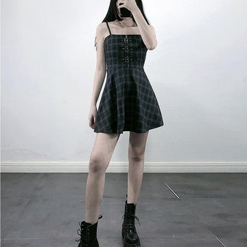 Modakawa Dress Vintage Plaid Zipper Buckle High Waist Slip Dress