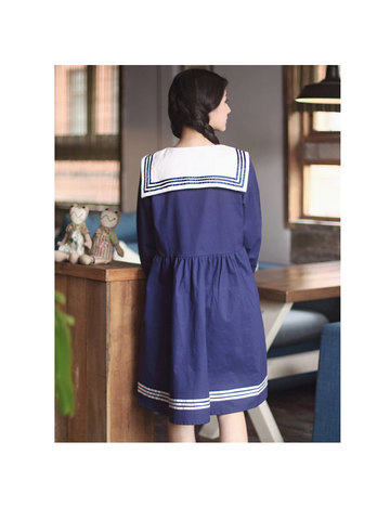 Navy Collar Cat Embroidery Dress
