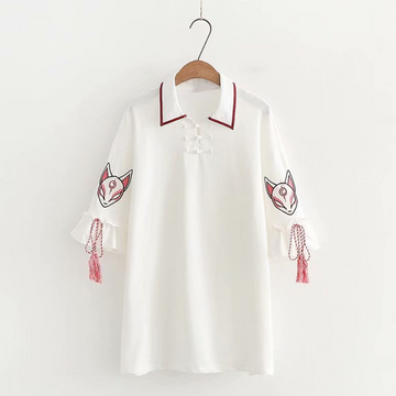 Modakawa Dress White / One Size Fox Mask Embroidery Tassels Polo Dress