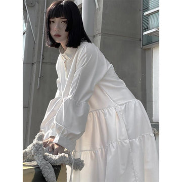 Modakawa Dress White / One Size Pure White Ruffle Polo Classic Long Shirt Dress
