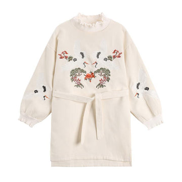 Modakawa Dress White / One Size Sweet Ruffle Crane Embroidery Dress