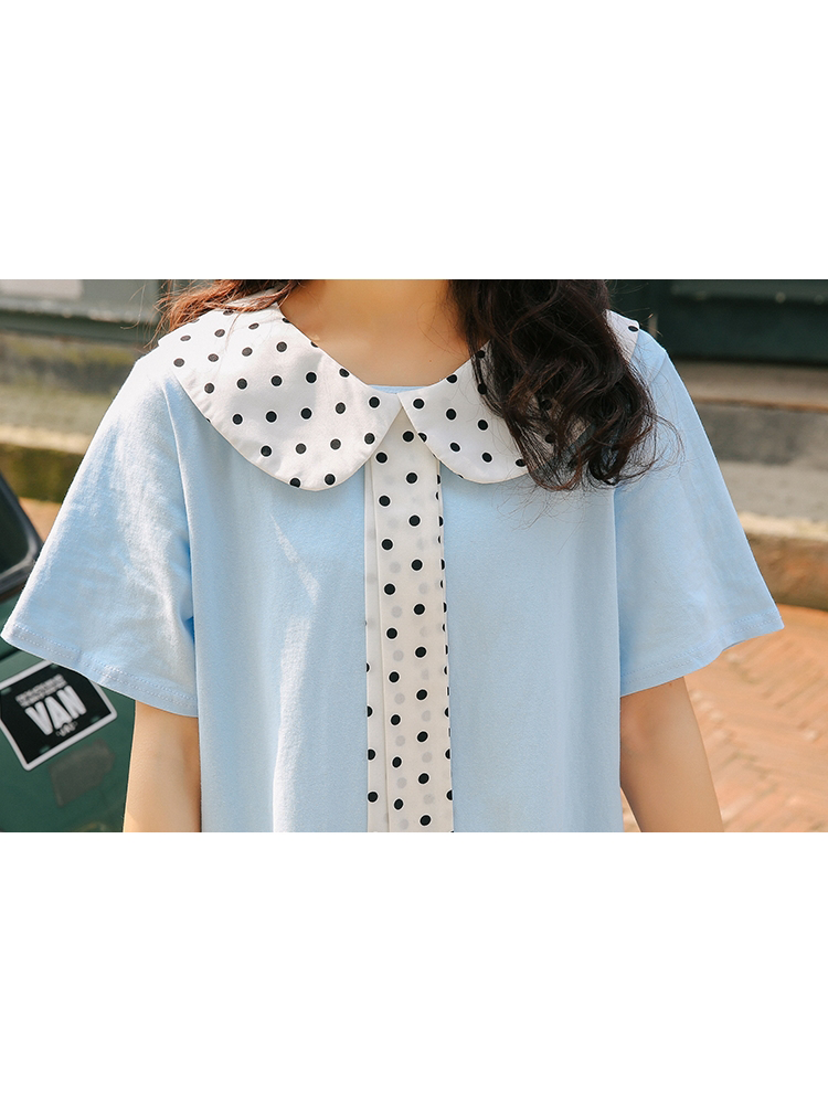 Modakawa Dress White Polka Dot Bow-Knot Dress
