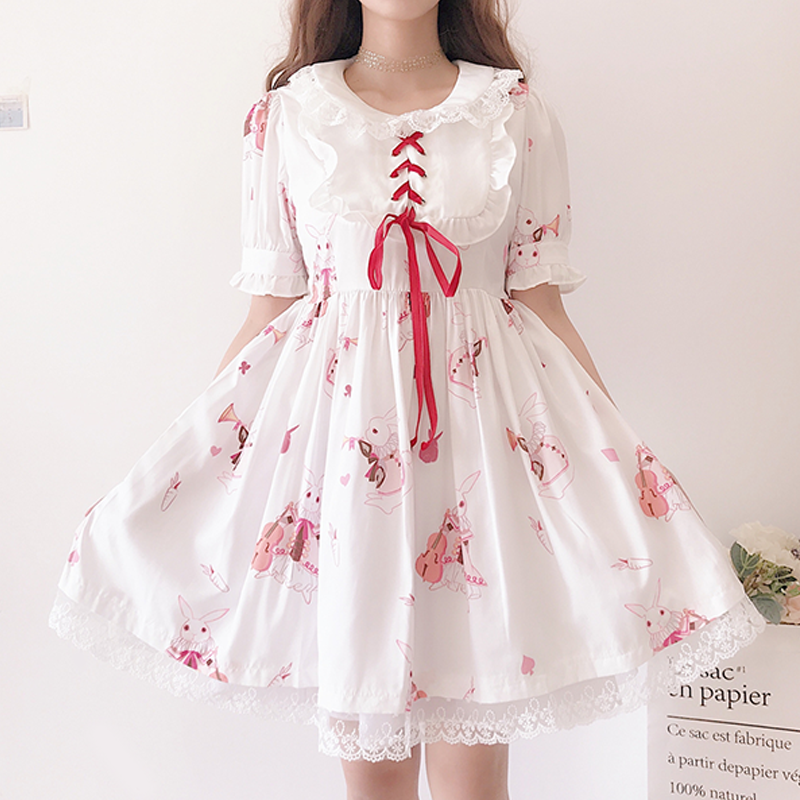 Modakawa Dress White / S Cute Rabbit Print Lace Dress
