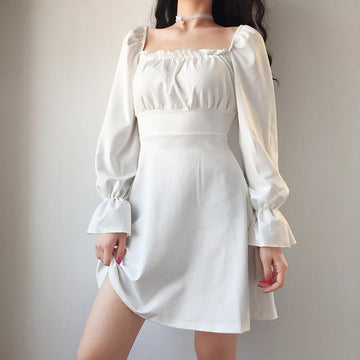 Modakawa Dress White / S French Style Square Collar Lace UP Dress