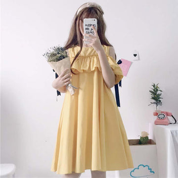 Modakawa Dress Yellow Sweet Ruffled Strapless Dress Lace up Loose