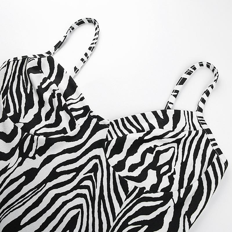 Modakawa Dress Zebra Stripe High Waist Slip Dress