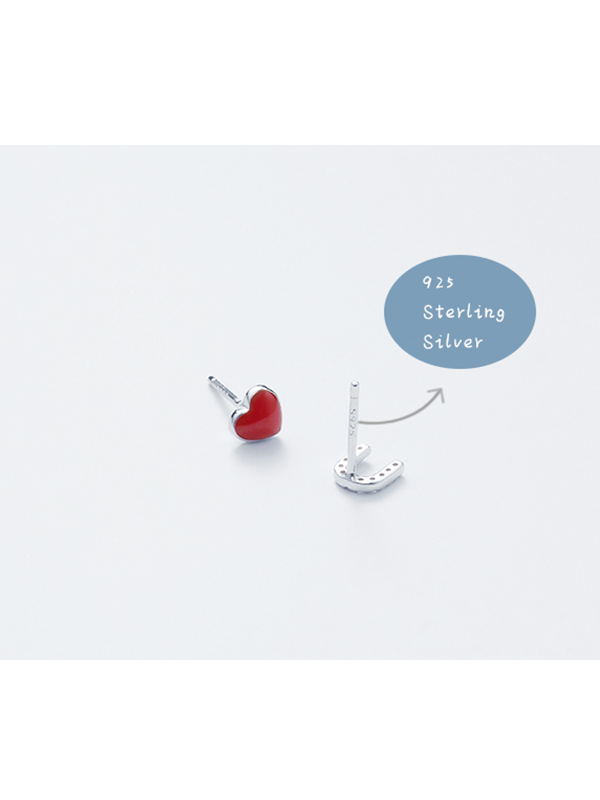Modakawa Earringgs Love U Letter 925 Sterling Silver Stud Earrings