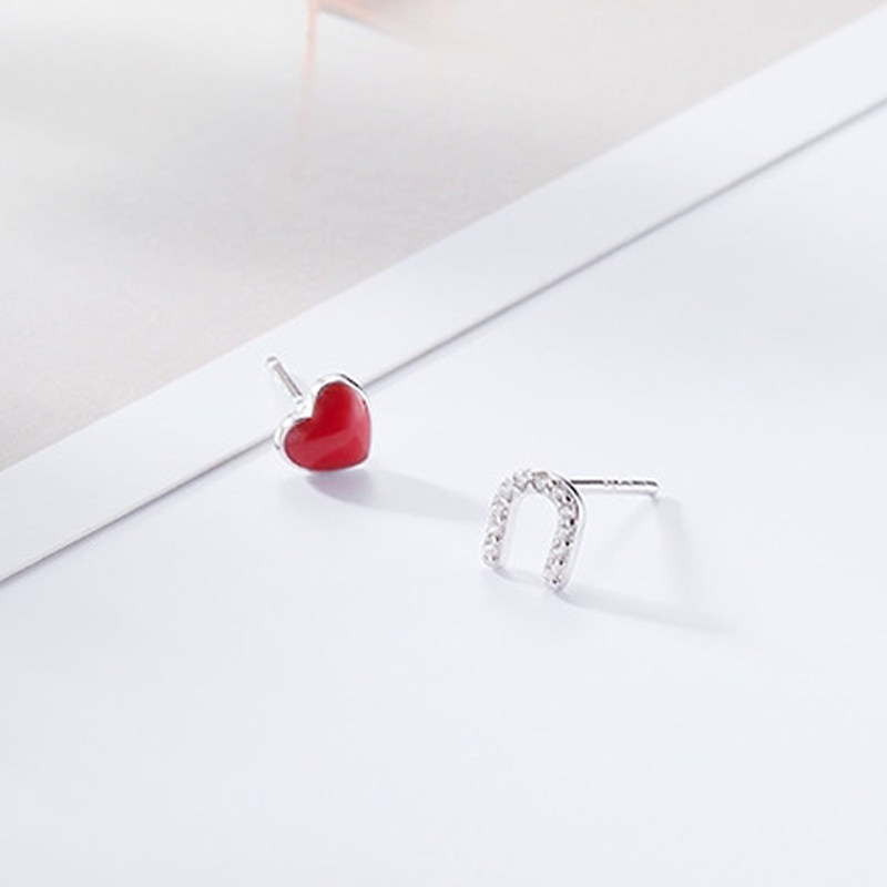 Modakawa Earrings As Shown / One Size Love U Letter 925 Sterling Silver Stud Earrings