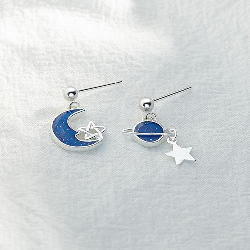 Modakawa Earrings Blue / One Size Star Moon Planet 925 Sterling Silver Stud Earrings